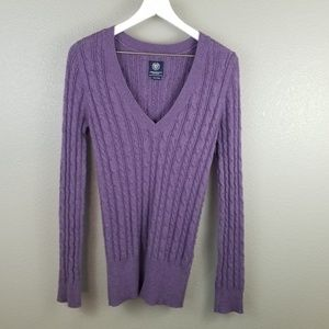 AEO Purple V Neck Cable Knit Sweater XL